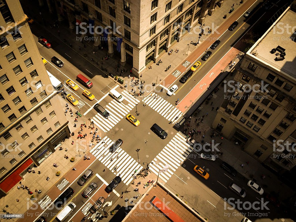 Bird's Eye View of NYC 5th Ave stock photo