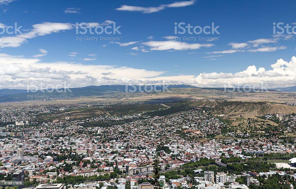 Bird's eye view of the capital Tbilisi Republic of Georgia stock photo