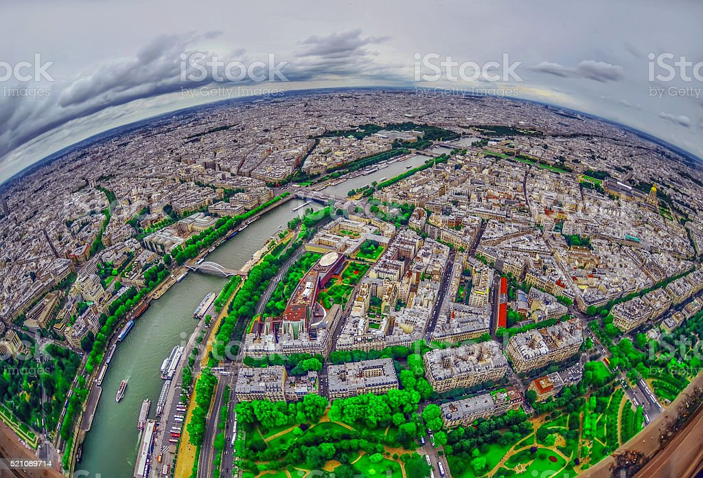 Bird's eye view of the city of Paris ,France stock photo