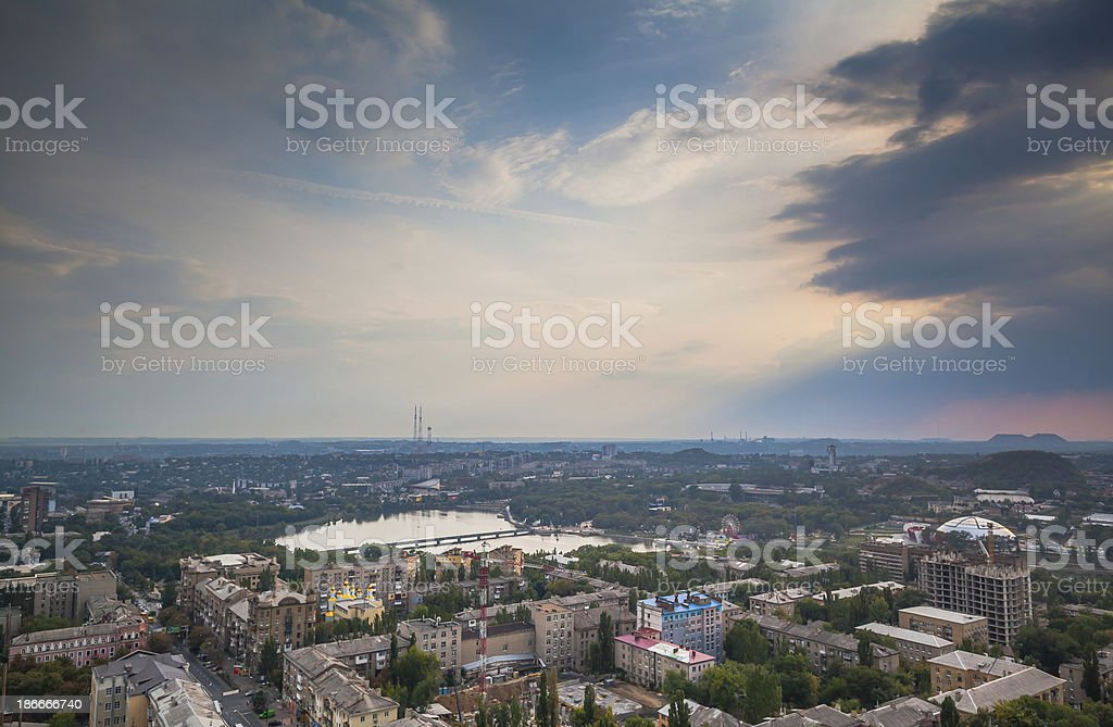 Birds eye view of the city stock photo