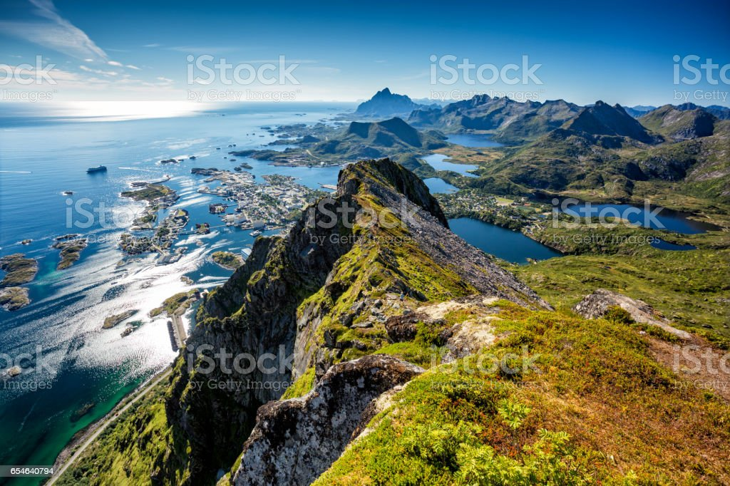 Bird's eye view of the Svolvaer town. stock photo