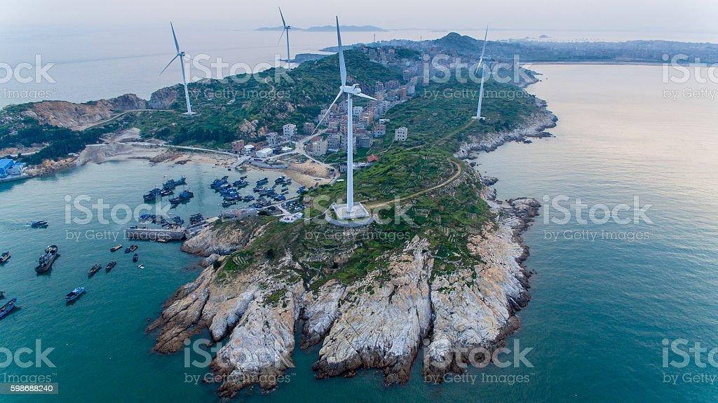 Bird's eye view of wind farm on small island, China stock photo