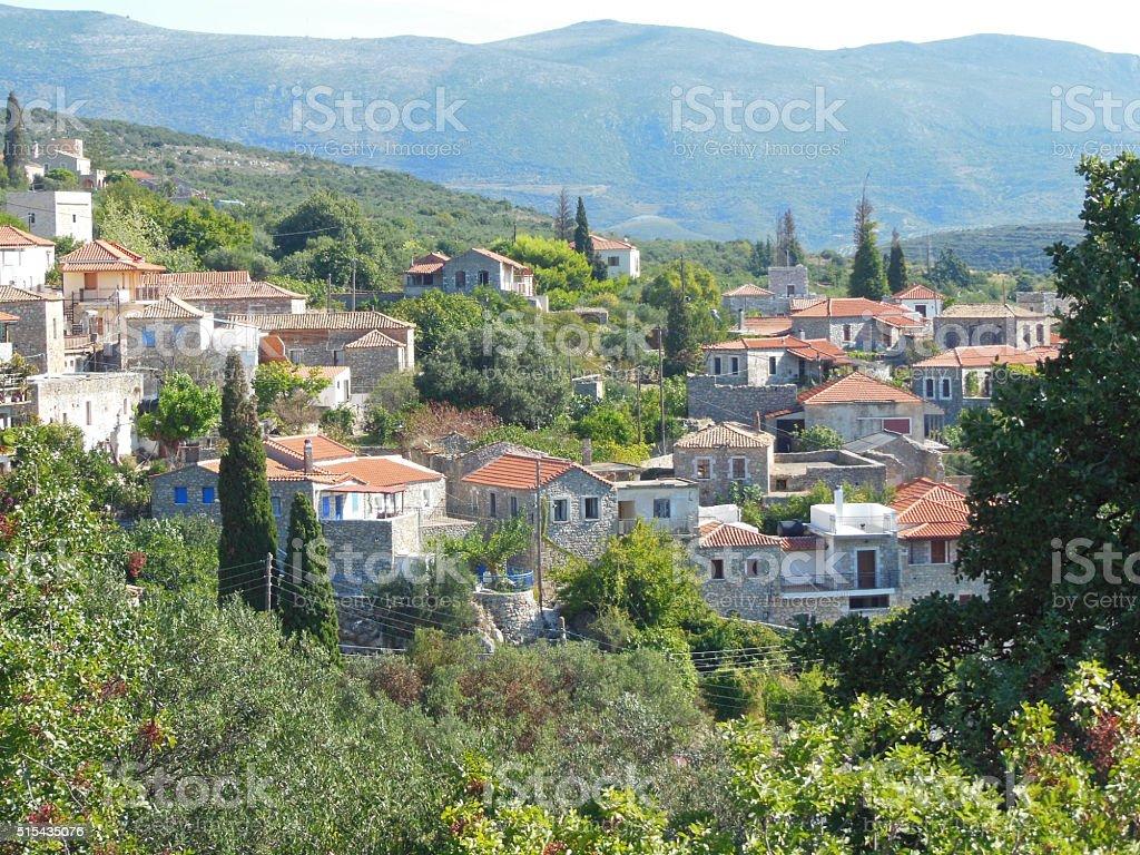 Bird's eye view on ancient mountain village in Taygetos Mountains stock photo