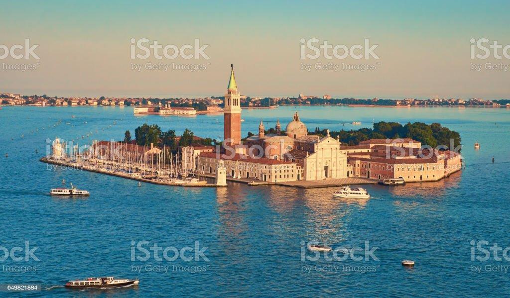 Bird's eye view on the island with church of San Giorgio Maggiore in Venice stock photo