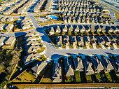 Bird's Eye View Over Suburban Modern Homes Austin Texas