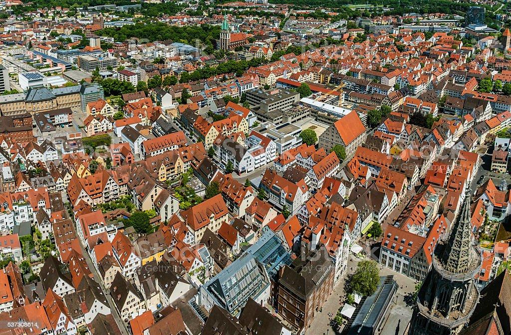 Bird's eye view over Ulm stock photo