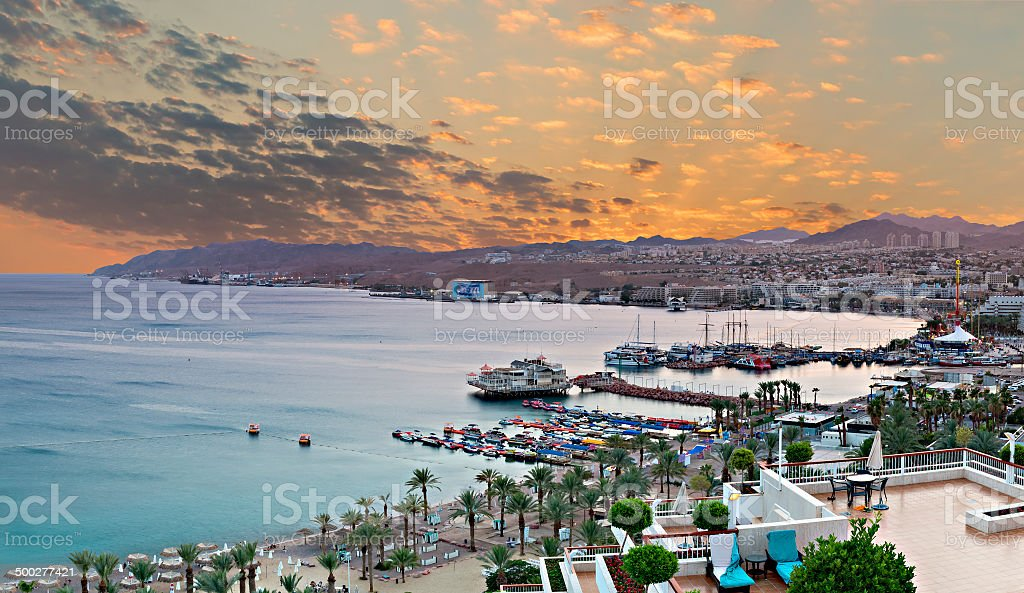 Bird's eye view the Red sea and Eilat at sunset stock photo