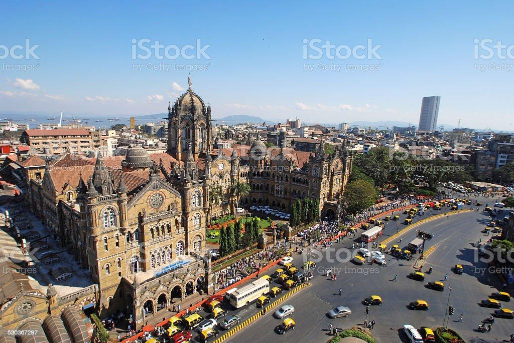 Bird's eyeview of Chatrapati Shivaji Terminus, Mumbai stock photo