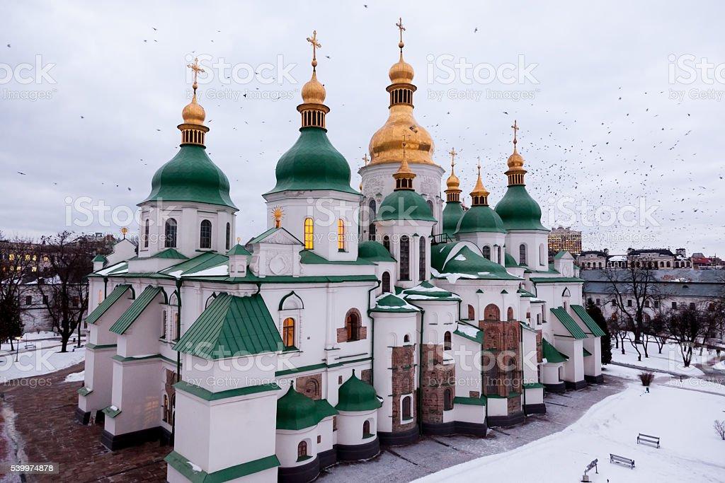 Birds near st. Sophia Cathedral in Kyiv, Ukraine stock photo