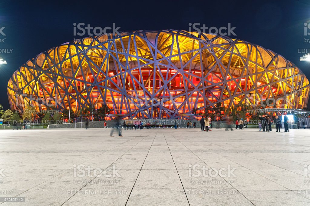Bird's Nest Stadium at Night,tourists, tourists,Beijing,China, Asia stock photo