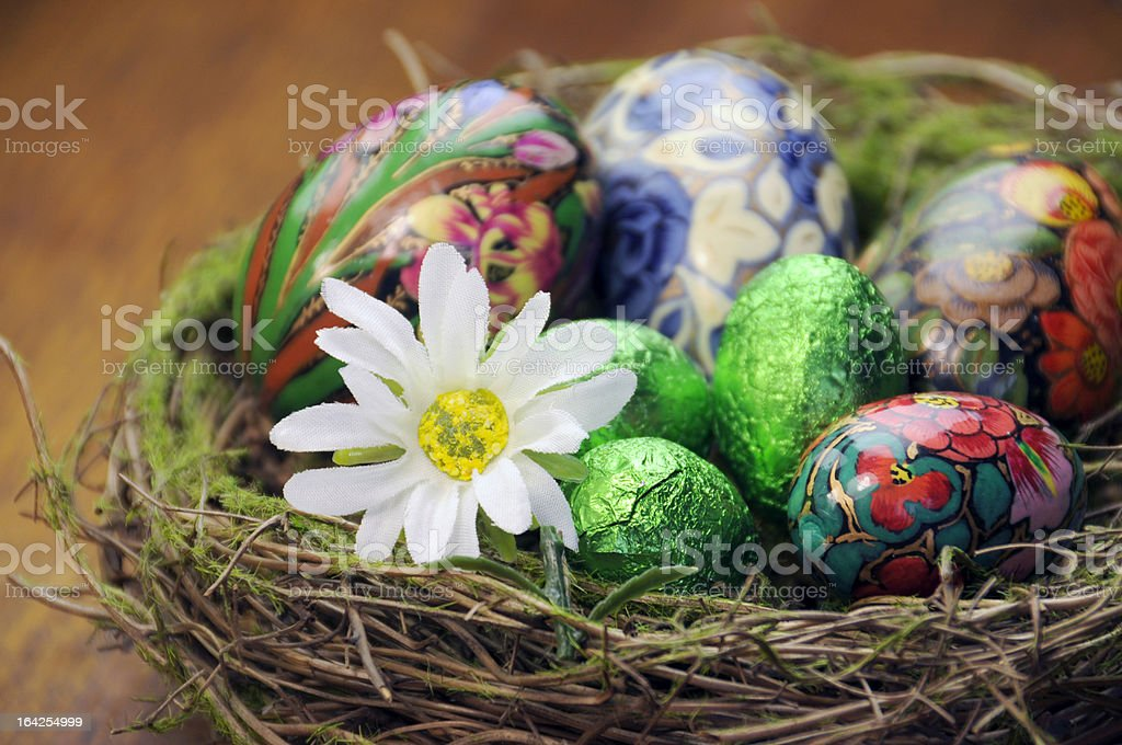 Birds nest with Easter Eggs and daisy flower. royalty-free stock photo