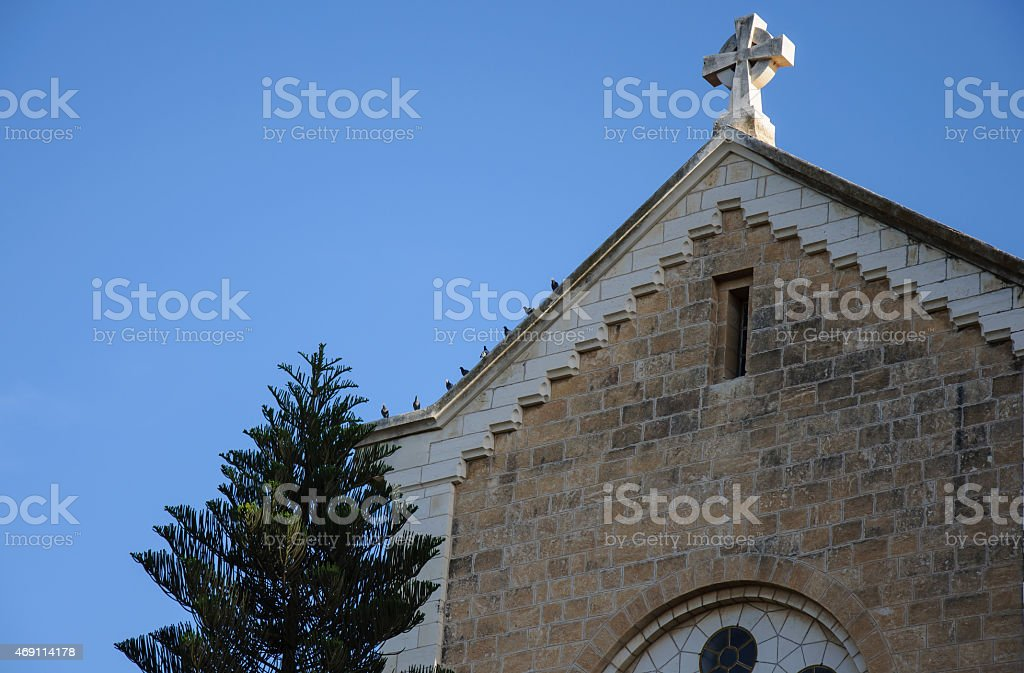 Birds on the roof of the monastery stock photo