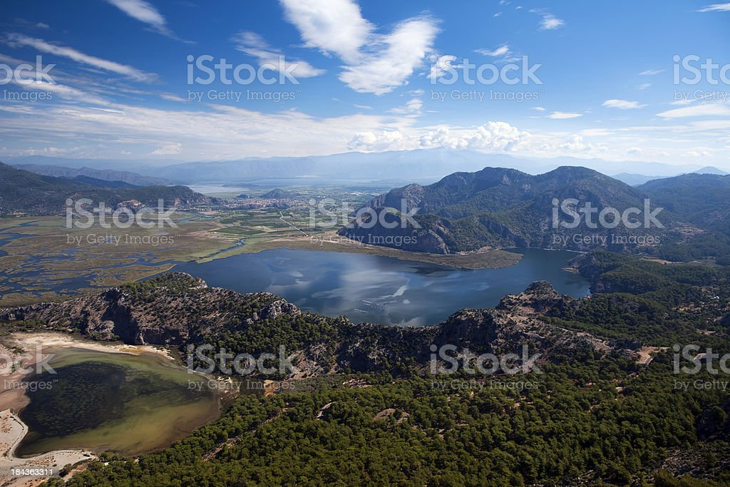 Bird's view Delta of Dalyan river, Turkey stock photo