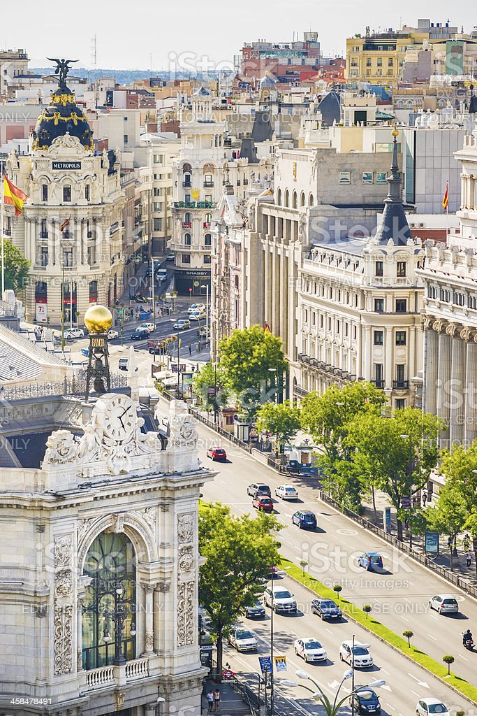 Bird's View of Calle de AlcalA! in Madrid, Spain stock photo