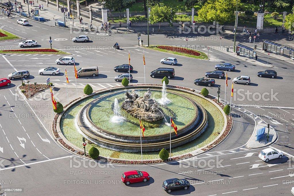 Bird's View of Plaza de la Cibeles in Madrid, Spain stock photo