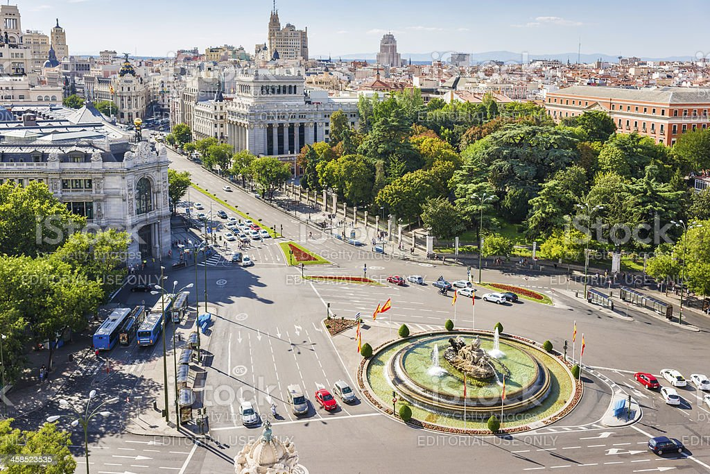 Bird's View of Plaza de la Cibeles in Madrid, Spain stock photo