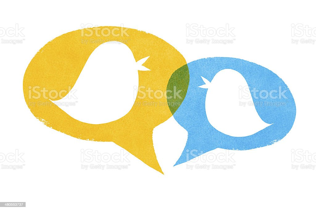 Birds with Yellow and Blue Speech Bubbles stock photo