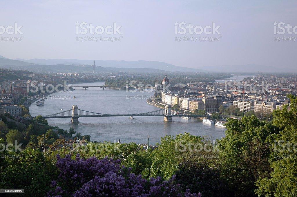 Birdseye Budapest & Danube stock photo