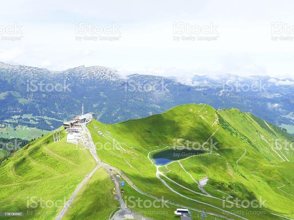 bird's-eye  view of alpin lake schreeksee in bavaria, allgau alps royalty-free stock photo