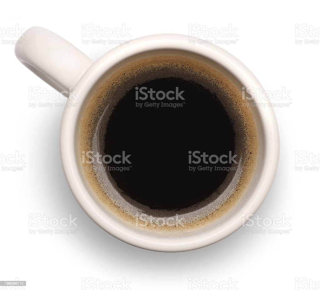 Birdseye view of black coffee in white mug stock photo