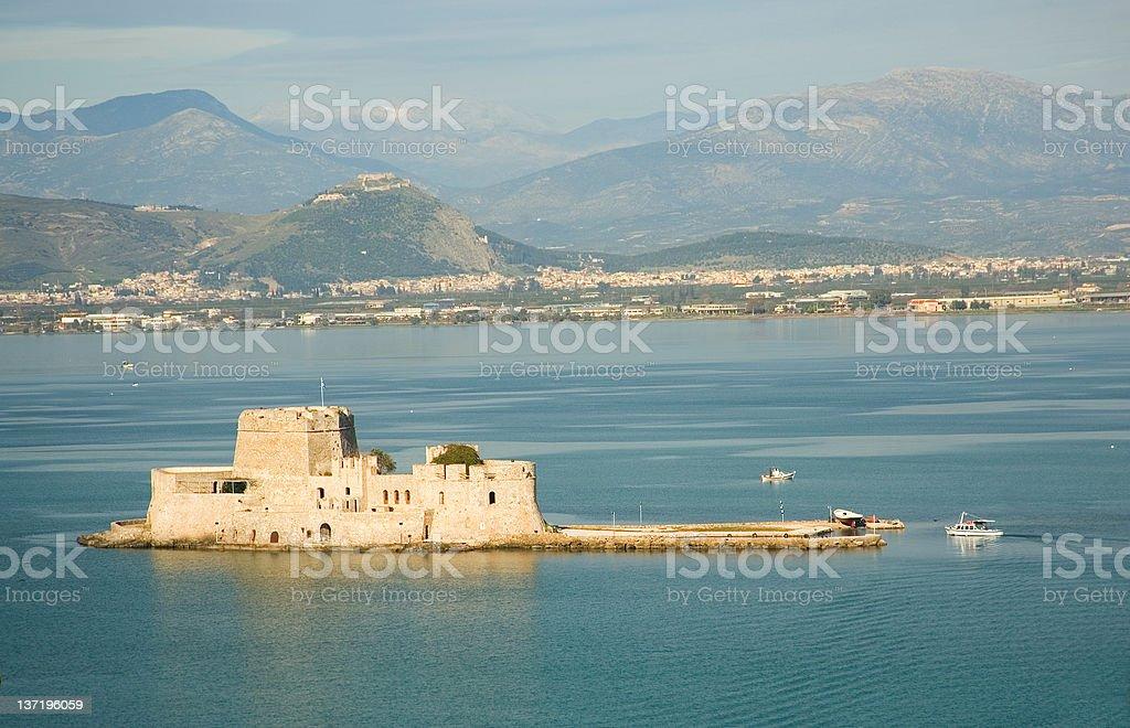 Bird's-eye view of Bourtzi fortress in Nafplion, Greece royalty-free stock photo