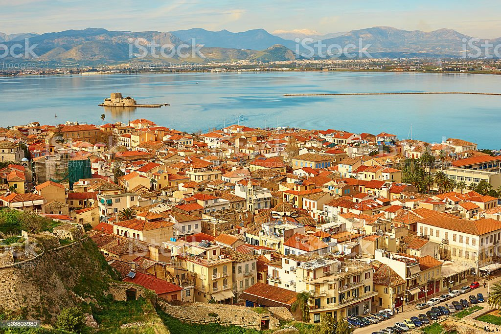 Bird's-eye view of Nafplion center stock photo