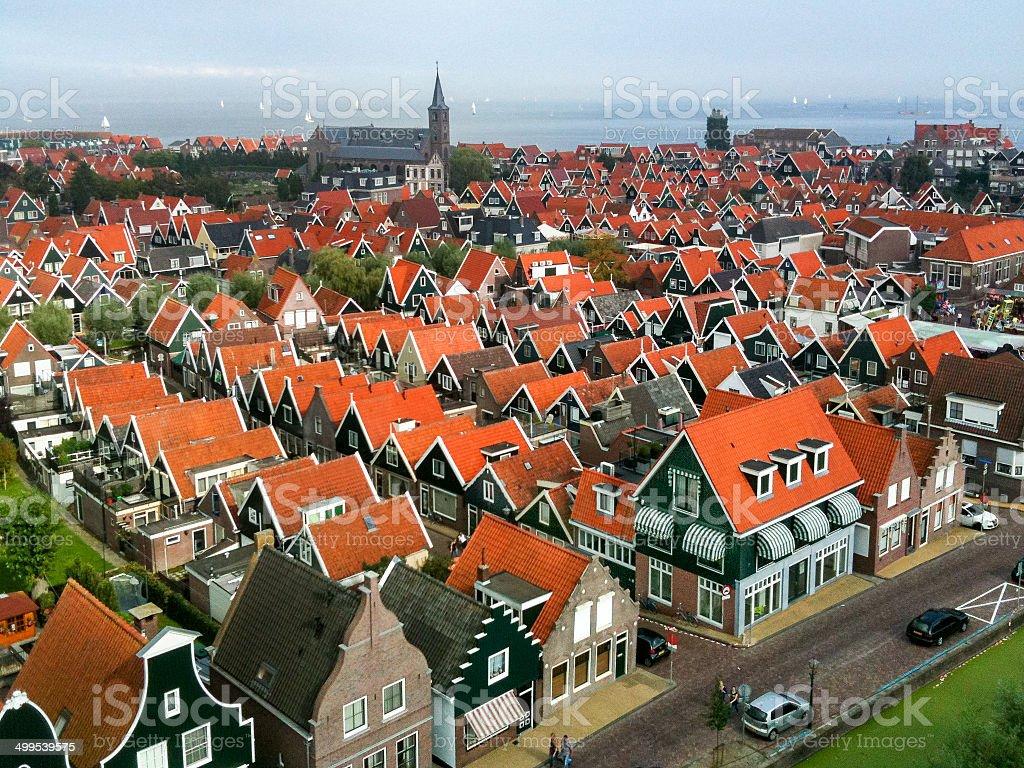 Birdseye view of Volendam stock photo