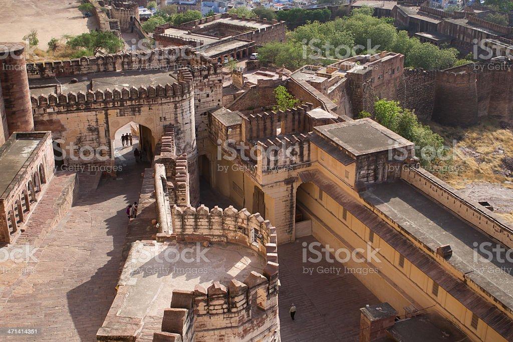 Birds-eye view to Mehrangarh Fort,Jodhpur (blue city) stock photo