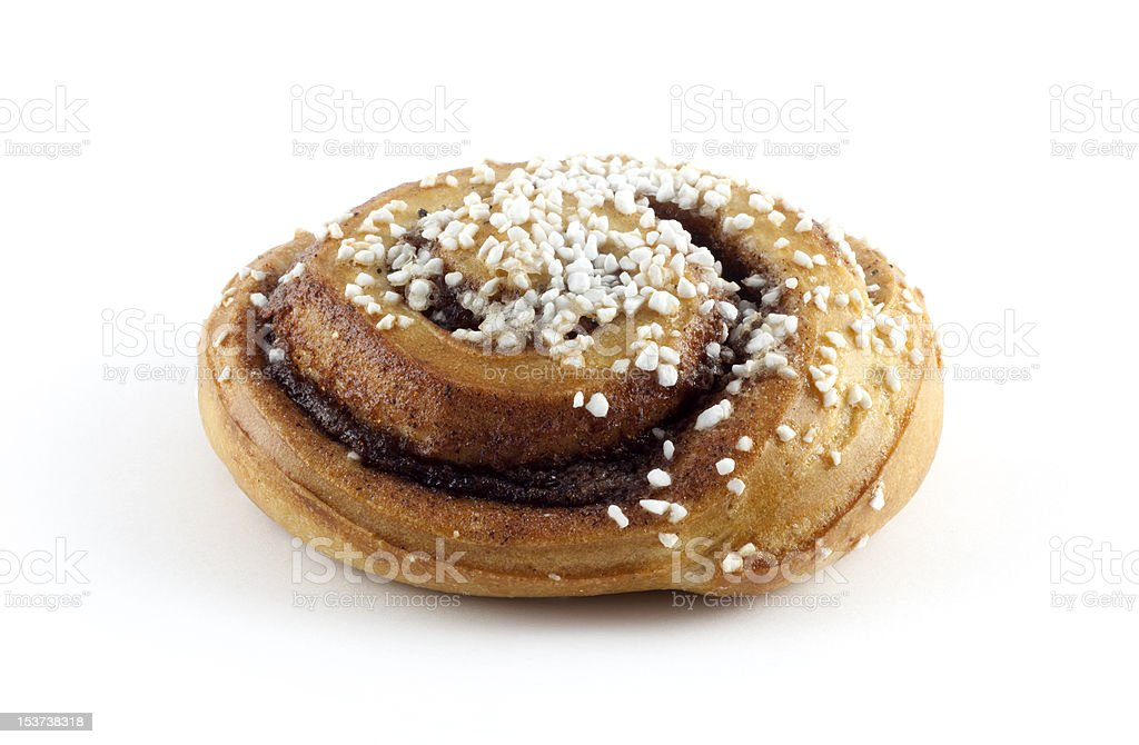 Birds-eye-view of a cinnamon roll royalty-free stock photo