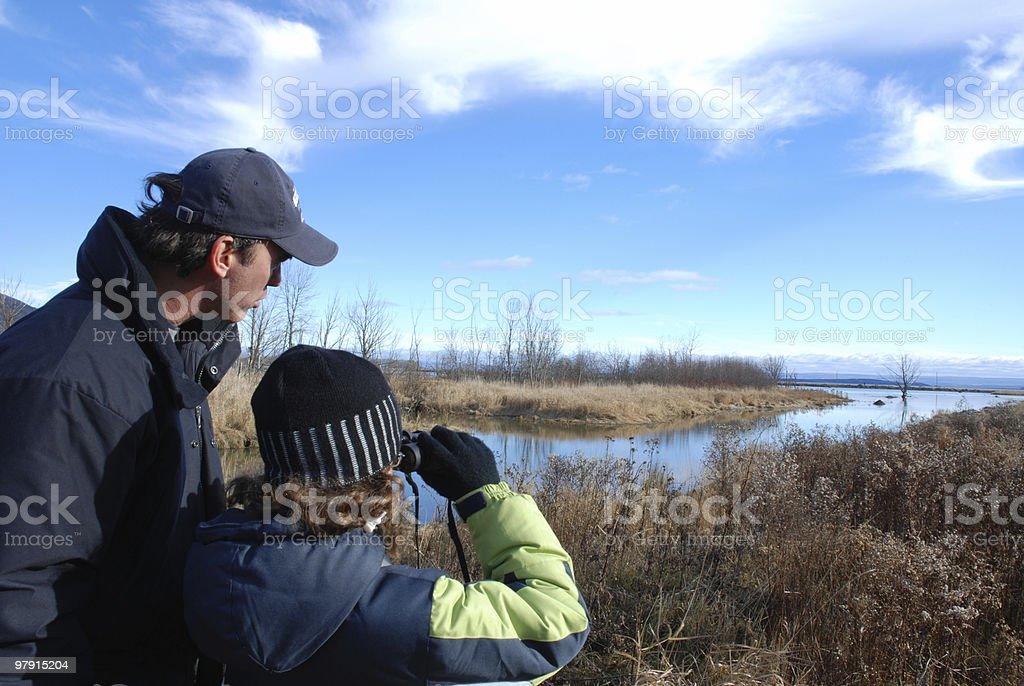 Bird-watching at Cap Tourmente stock photo
