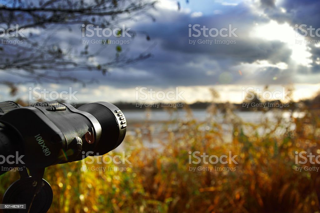 Birdwatching ponds on a cloudy cold day. stock photo