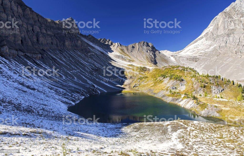 Birdwood Tarn Smuts Pass Kananaskis Rocky Mountains stock photo