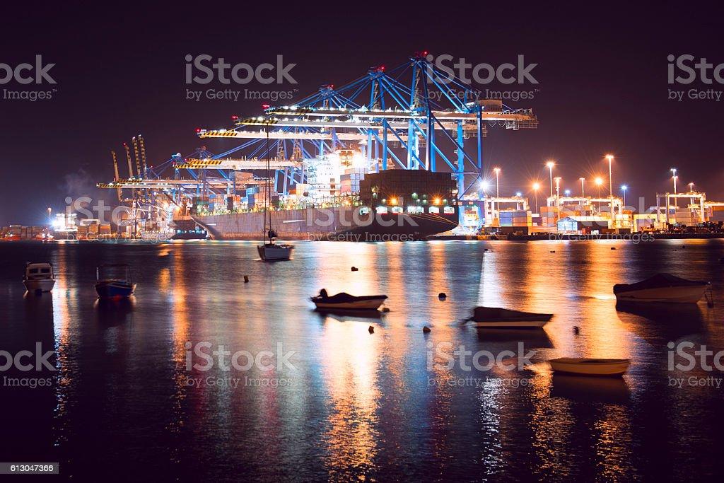 Birżebbuġa, Malta: International Port at Night. stock photo