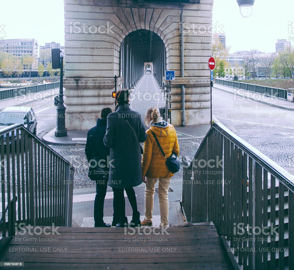 Bir-Hakeim Bridge in Paris France stock photo