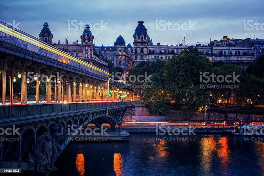 Bir-Hakeim bridge in Paris stock photo