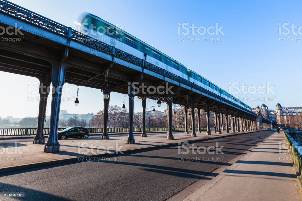 Bir-Hakeim bridge in Paris stock photo