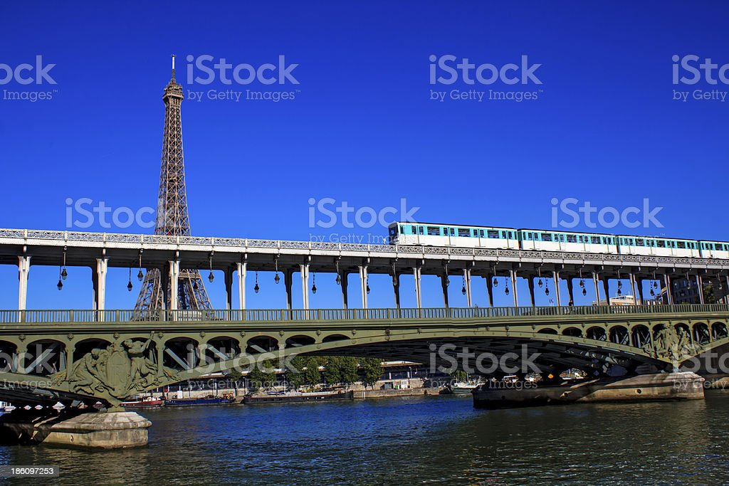Bir-Hakeim bridge in Paris with the Eiffel Tower behind it stock photo