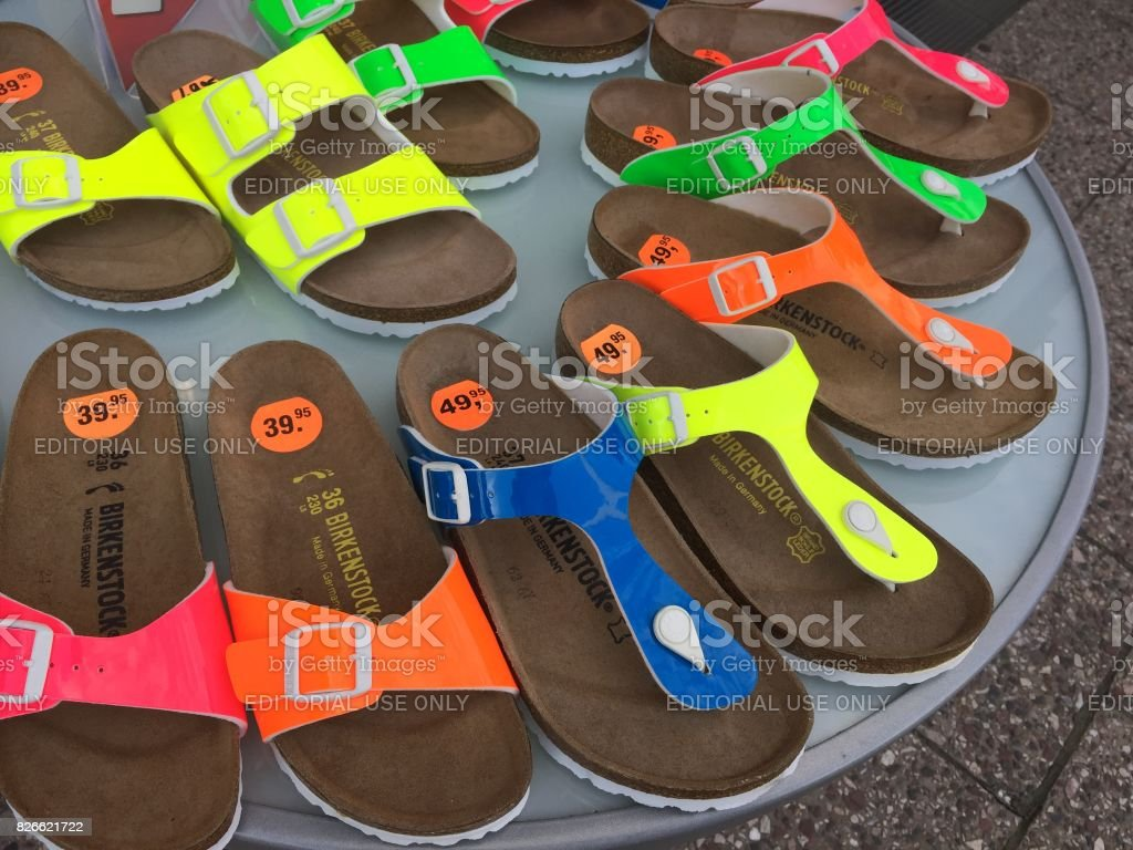 Birkenstock sandals displayed in shoe store stock photo
