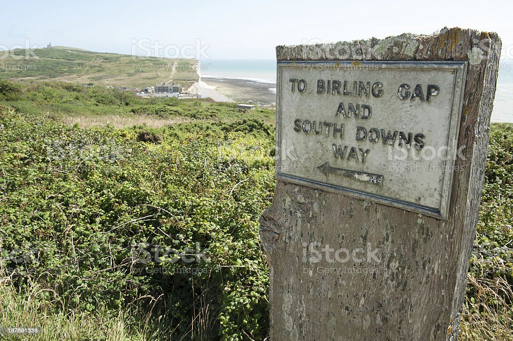 Birling Gap sign, South Downs Way, nr Eastbourne, Sussex, UK stock photo