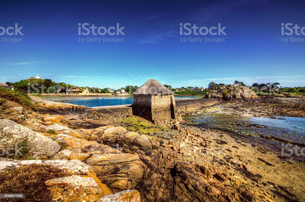 Birlot Tide Mill, Island of Brehat, Brittany stock photo