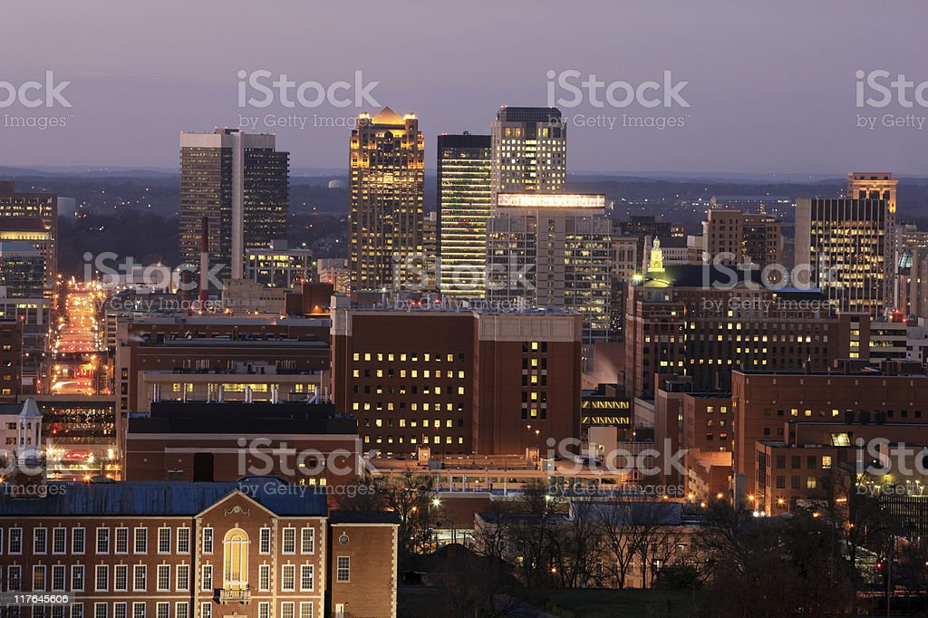 Birmingham, Alabama skyline at dusk stock photo