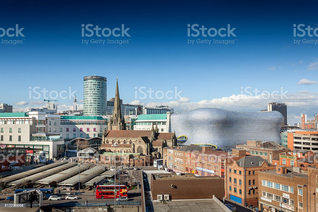 Birmingham city centre, Rotunda, Bull Ring, Selfridges, Market. stock photo