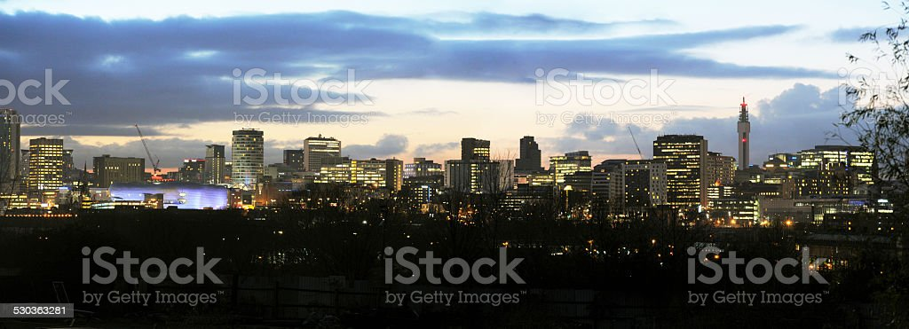 Birmingham City Skyline at Dusk - Stock Photo stock photo