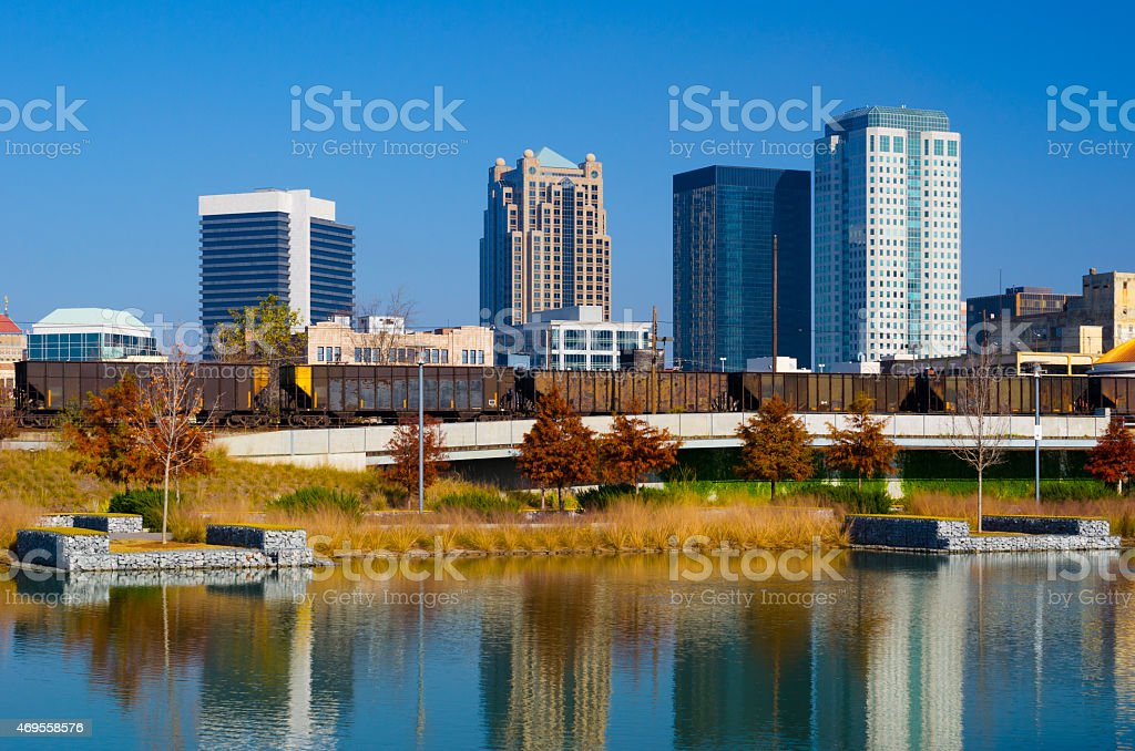 Birmingham Downtown Skyline and lake stock photo