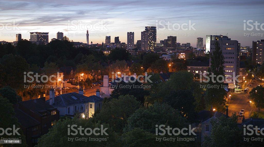 Birmingham, England City Centre Skyline at Dusk stock photo
