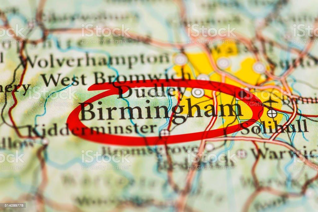 Birmingham Marked on Map stock photo