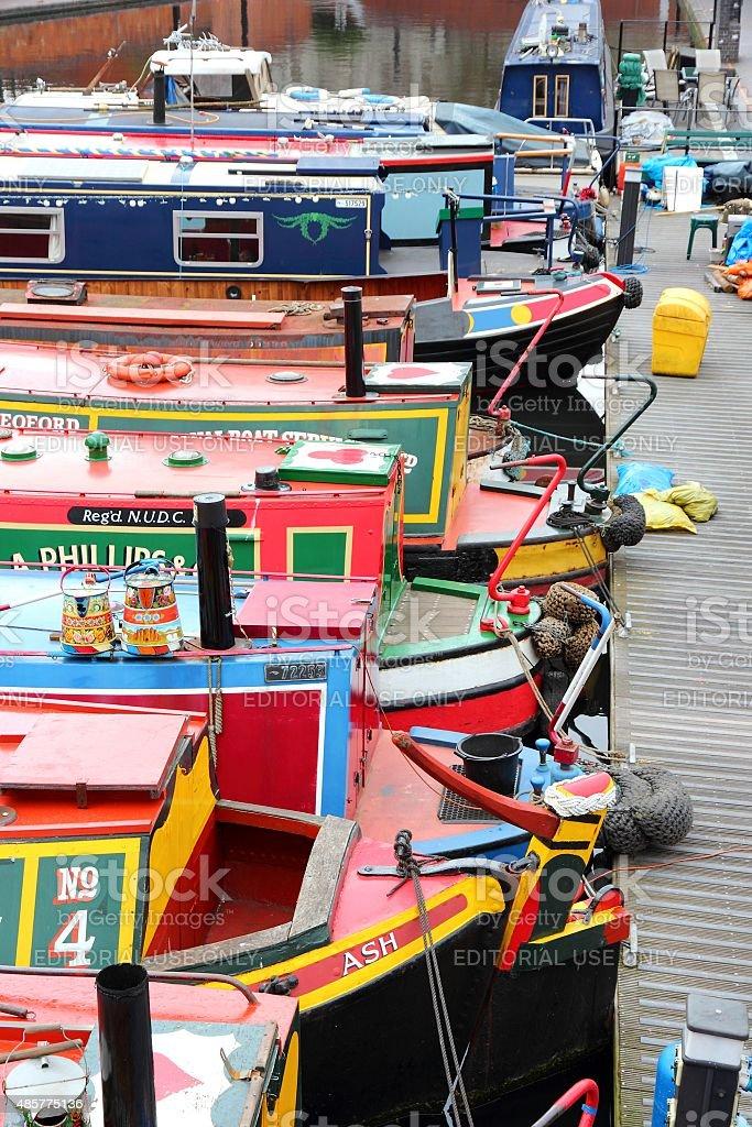 Birmingham narrowboats stock photo