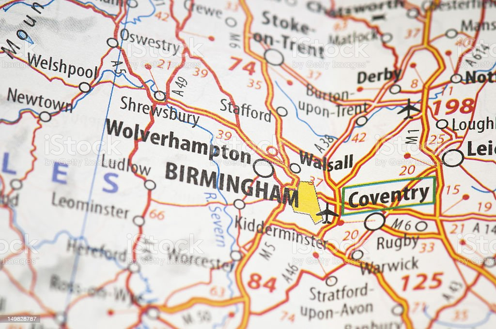 Birmingham on a map stock photo