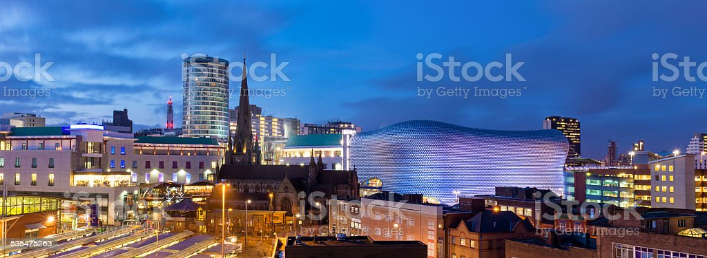 Birmingham Panoramic Cityscape, England, UK stock photo