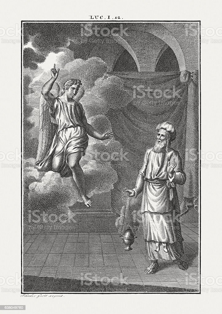 Birth Announcement of John the Baptist (Luke 1), published c.1850 stock photo